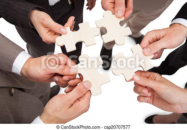 fixation, puzzle, affaires gens, morceaux - csp20707577