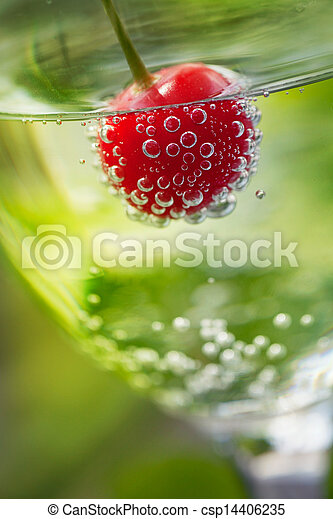 Fizzy drink with cherry - csp14406235