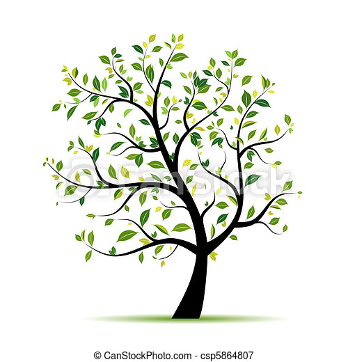 fjäder, design, träd, grön, din - csp5864807