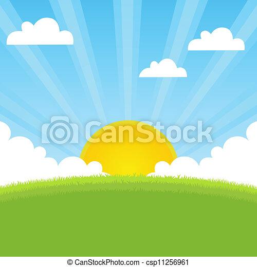 fjäder, solsken, landskap - csp11256961