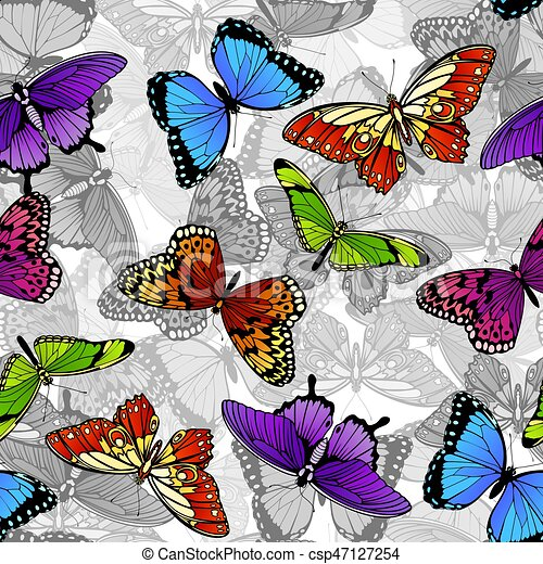 fjäril, mönster, seamless, bakgrund - csp47127254