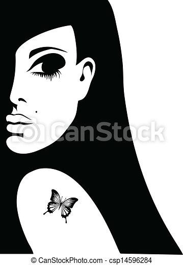 fjäril, tatuera, kvinna, silhuett, henne, illustration, vektor, knuffa - csp14596284