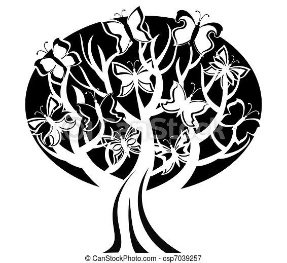 fjärilar, vektor, träd, illustration - csp7039257