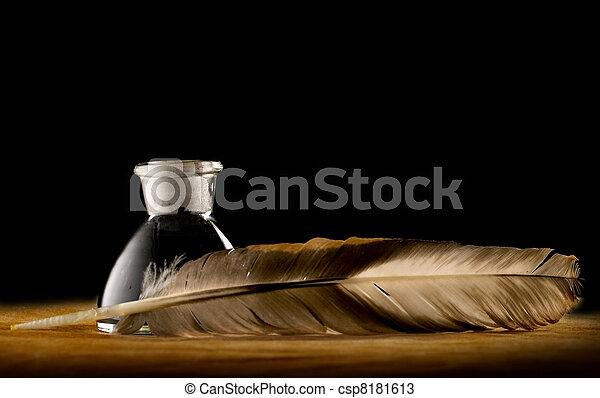 fjer, fulde, flaske, blæk - csp8181613