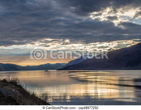 Fjord and ferry in Norway - csp48977250
