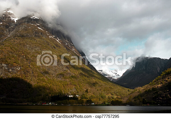 Fjord and mountains in spring - csp77757295