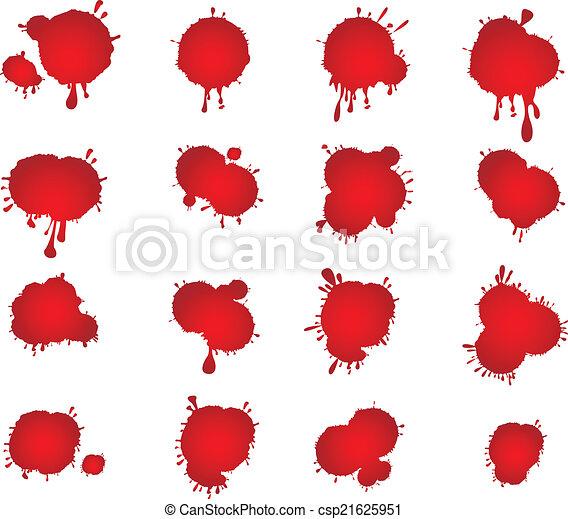 fläckar, vektor, sätta, blod - csp21625951