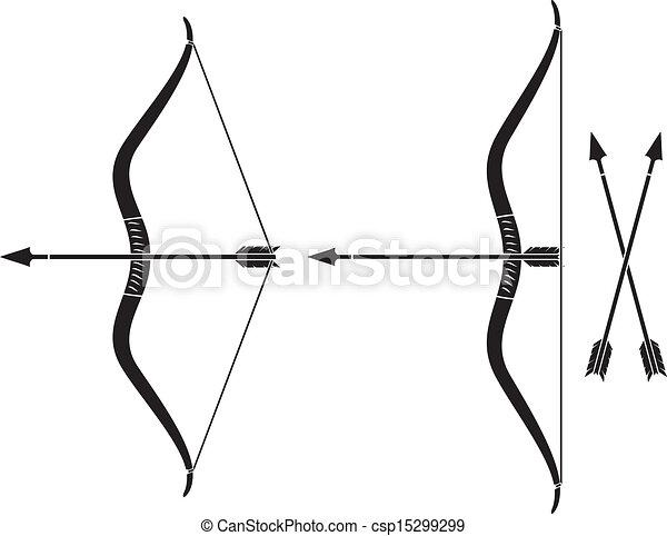 Flèche, arc. Arme, (vector, flèche, arrow), arc.