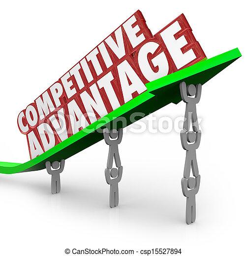 flèche, avantage, compétitif, mots, équipe, levage - csp15527894