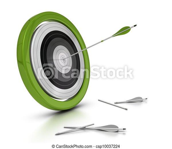 flèche, cible, ils, concept, flèches, deux, une, frapper, manqué, autre, objectif, fond, objectif, blanc, achived, centre - csp10037224