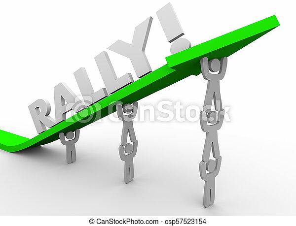 flèche, fonctionnement, render, haut, ensemble, augmentation, ascenseur, illustration, mots, équipe, rassemblement, 3d - csp57523154