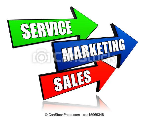 flèches, ventes, commercialisation, service - csp15969348