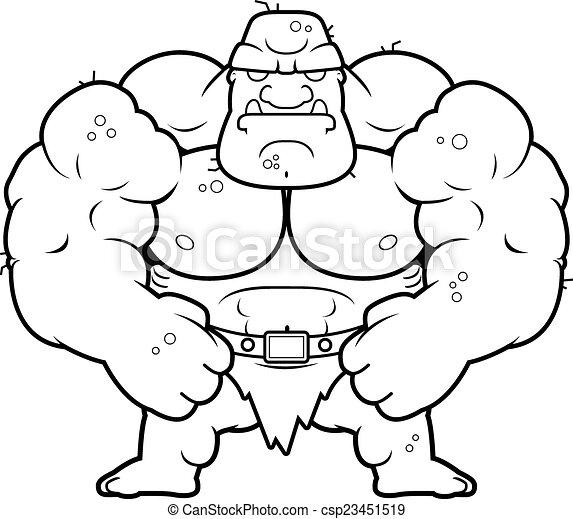 Flechir Dessin Anime Ogre Flexing Ogre Illustration Dessin Anime Canstock