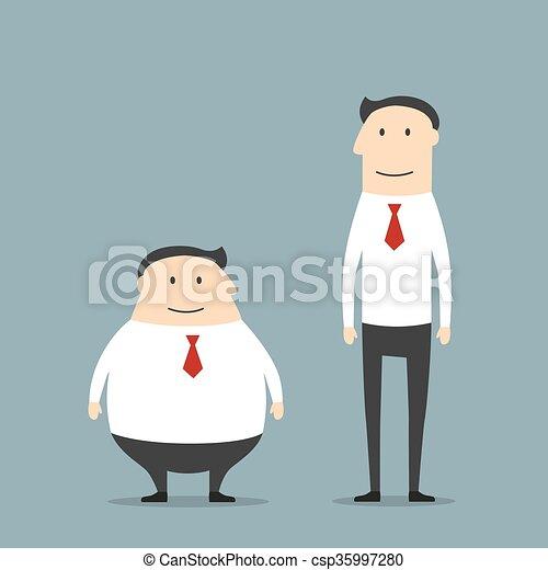 Hombres Gordos Y Delgados Y Sonrientes Dibujos Animados