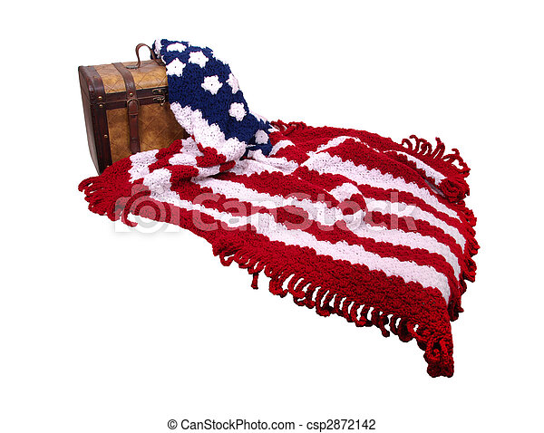 Flag afgan and wooden trunk - csp2872142