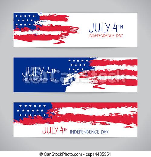 flag., americano, desenho, bandeiras, dia, independência - csp14435351