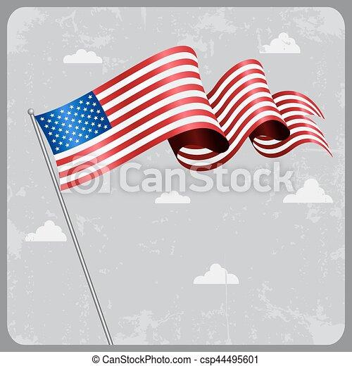 flag., amerykanka, wektor, falisty, illustration. - csp44495601