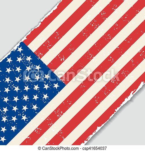 flag., amerykanka, wektor, grunge, illustration. - csp41654037