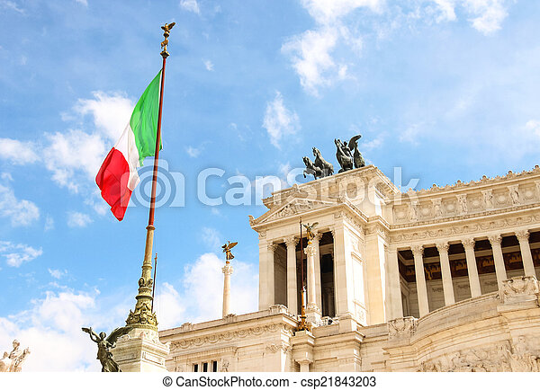 Flag at the monument to Victor Emmanuel II. Piazza Venezia, Rom - csp21843203
