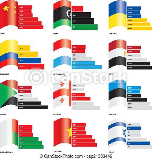 flag bar graph templates for infographics