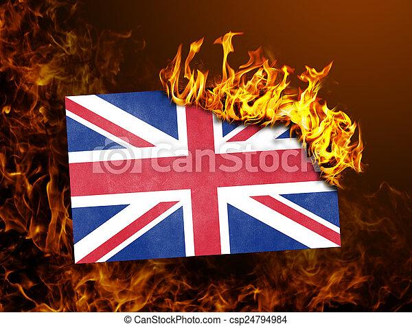 Flag burning - United Kingdom - csp24794984