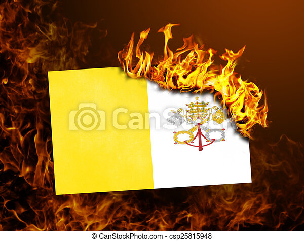 Flag burning - Vatican City - csp25815948