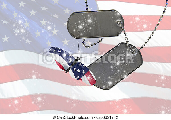 flag butterfly with dog tags - csp6621742
