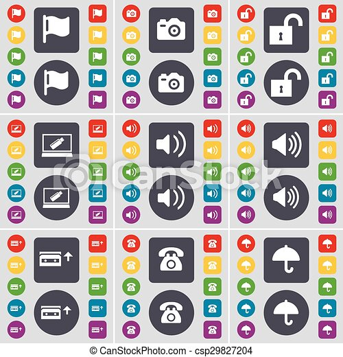 Flag, Camera, Lock, Laptop, Sound, Cassette, Retro phone, Umbrella icon symbol. A large set of flat, colored buttons for your design. Vector - csp29827204