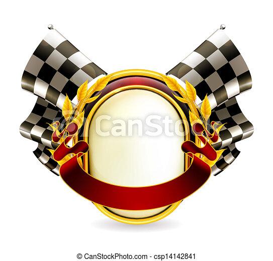 Flag checkered emblem, eps10 - csp14142841