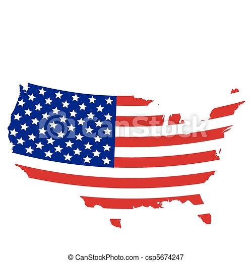 Flag designed United States map - csp5674247