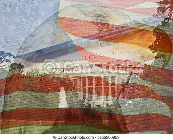 Flag, Eagle, White House, Declaration. Composite of multiple photos taken by the author. - csp6500953