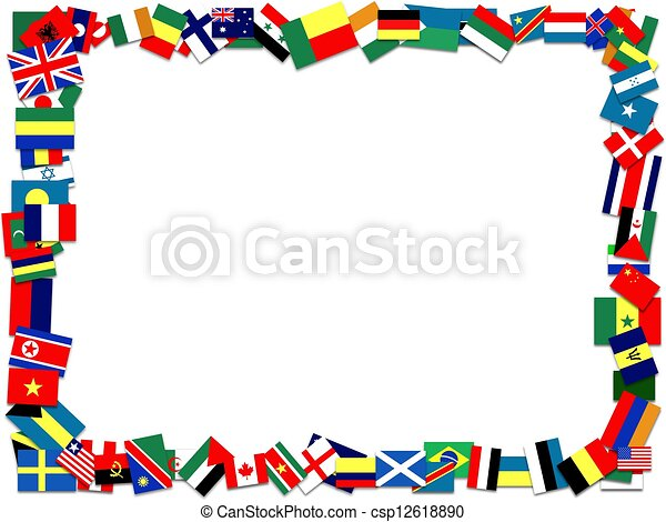 Flag frame. Illustration of a frame made of many flags.