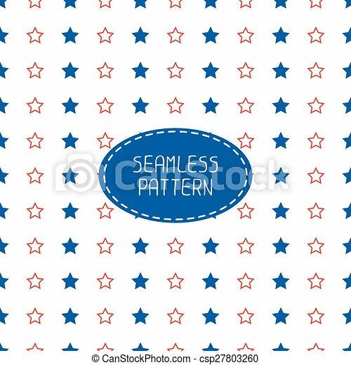 flag., géométrique, stars., américain, patriotique, usa, arrière-plan., modèle, seamless, scrapbook., vecteur, blanc, papier, emballage, paper., nautique, rouges, bleu, july., illustration, symbols., étoilé, tiling., 4ème - csp27803260