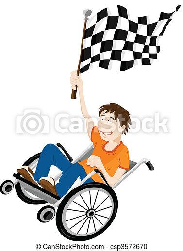 flag., gagnant, handicapé, fauteuil roulant, jeune homme - csp3572670