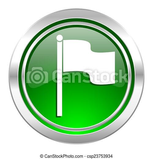 flag icon, green button - csp23753934