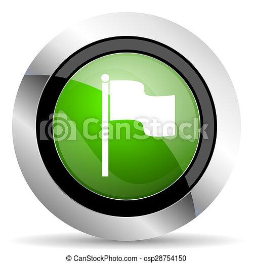 flag icon, green button - csp28754150