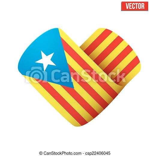 Flag icon in the form of heart. I love Catalonia - csp22406045
