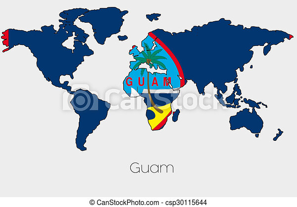 Flag Illustration inside the shape of a world map of the country of Guam