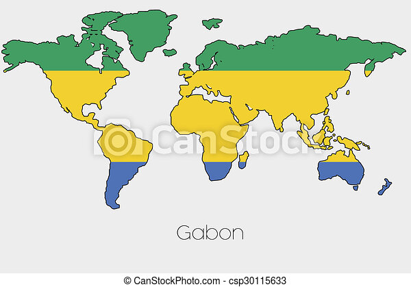 Gabon World Map.A Flag Illustration Inside The Shape Of A World Map Of The Country