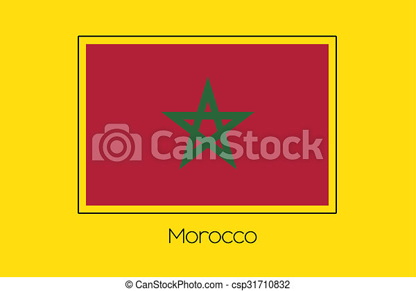 Flag Illustration of the country of Morocco - csp31710832