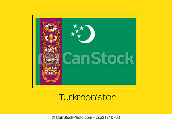 Flag Illustration of the country of Turkmenistan - csp31710763