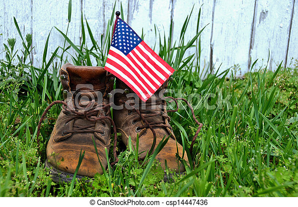flag in work boot - csp14447436
