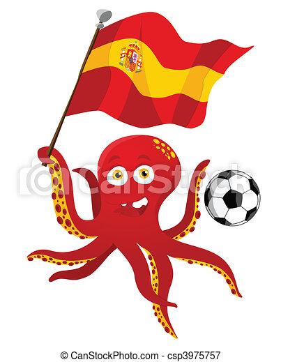 flag., jogador, segurando, futebol, polvo, espanha - csp3975757