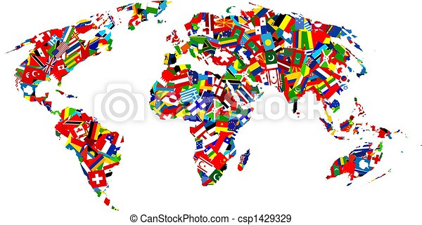 Flag map map of the earth made up using different flags of the world flag map csp1429329 gumiabroncs Gallery