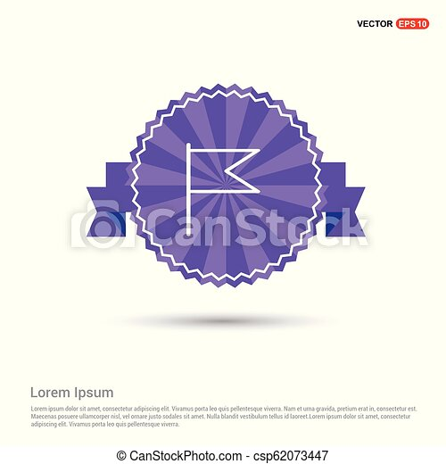 Flag mark icon - Purple Ribbon banner - csp62073447