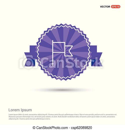 Flag mark icon - Purple Ribbon banner - csp62089820