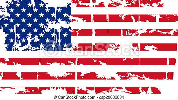 Bandera grunge americana. Ilustración de vectores. - csp20632834