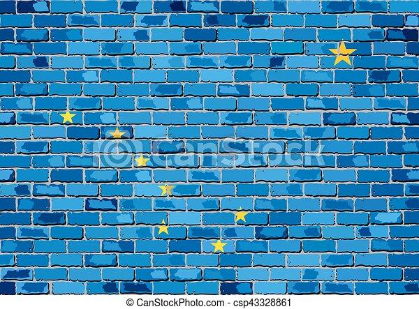 Flag of Alaska on a brick wall - csp43328861