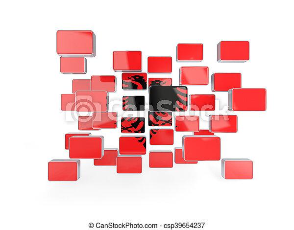 Flag of albania, mosaic background - csp39654237