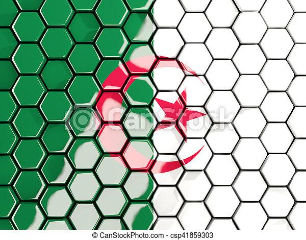 Flag of algeria, hexagon mosaic background - csp41859303